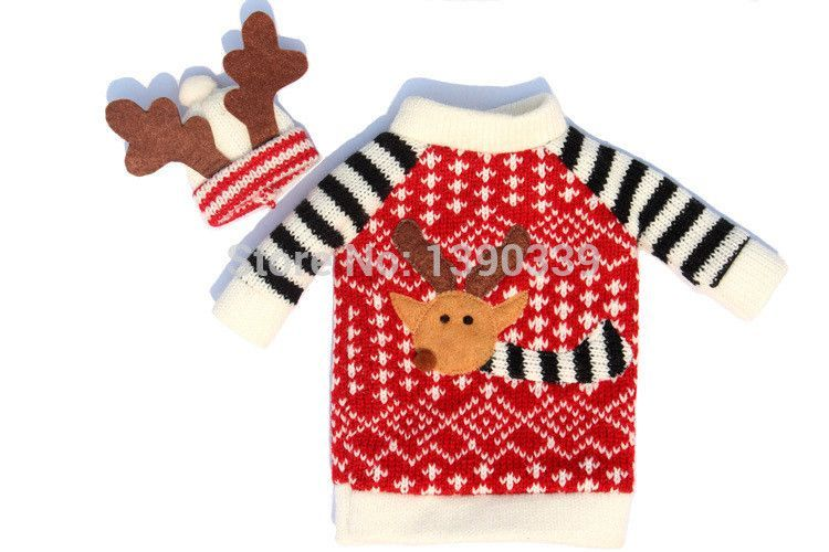 2pcs Christmas Decoration Bottle Covers Clothes With Hats For Home Dinner Party Or Gift