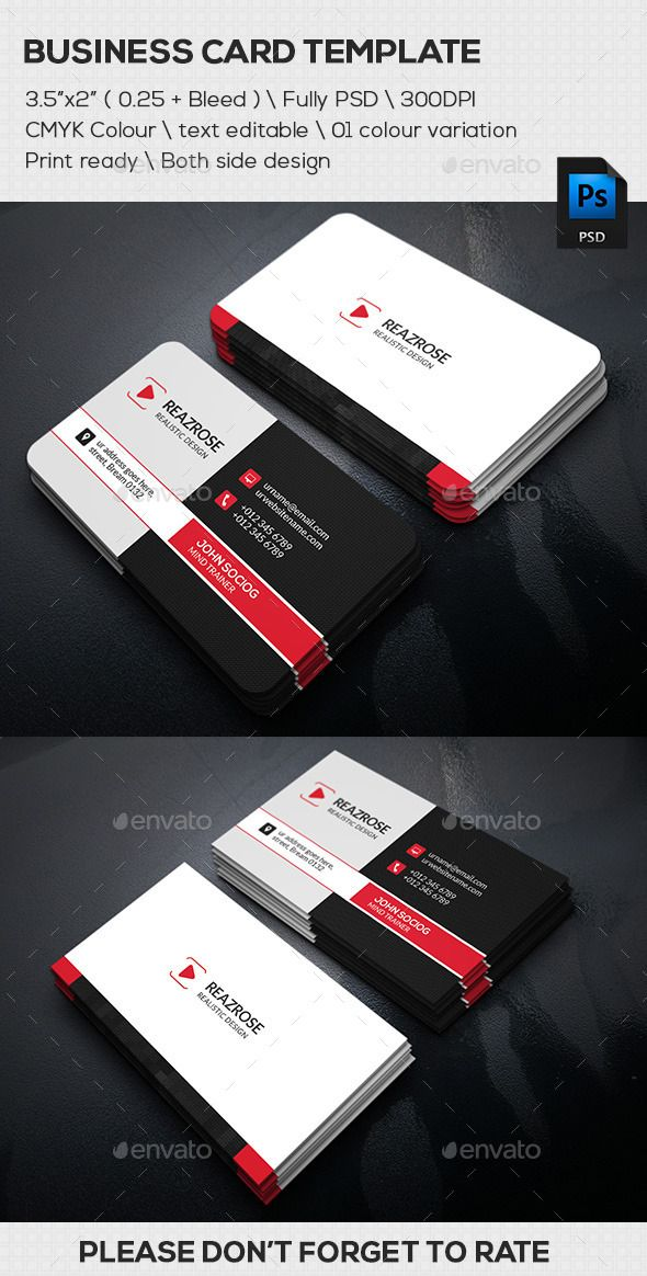 Creative Corporate Business Card Template #design #print Download ...
