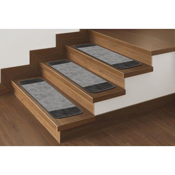 Best Ottomanson Softy Carved Bi Color Design Non Slip Stair 400 x 300