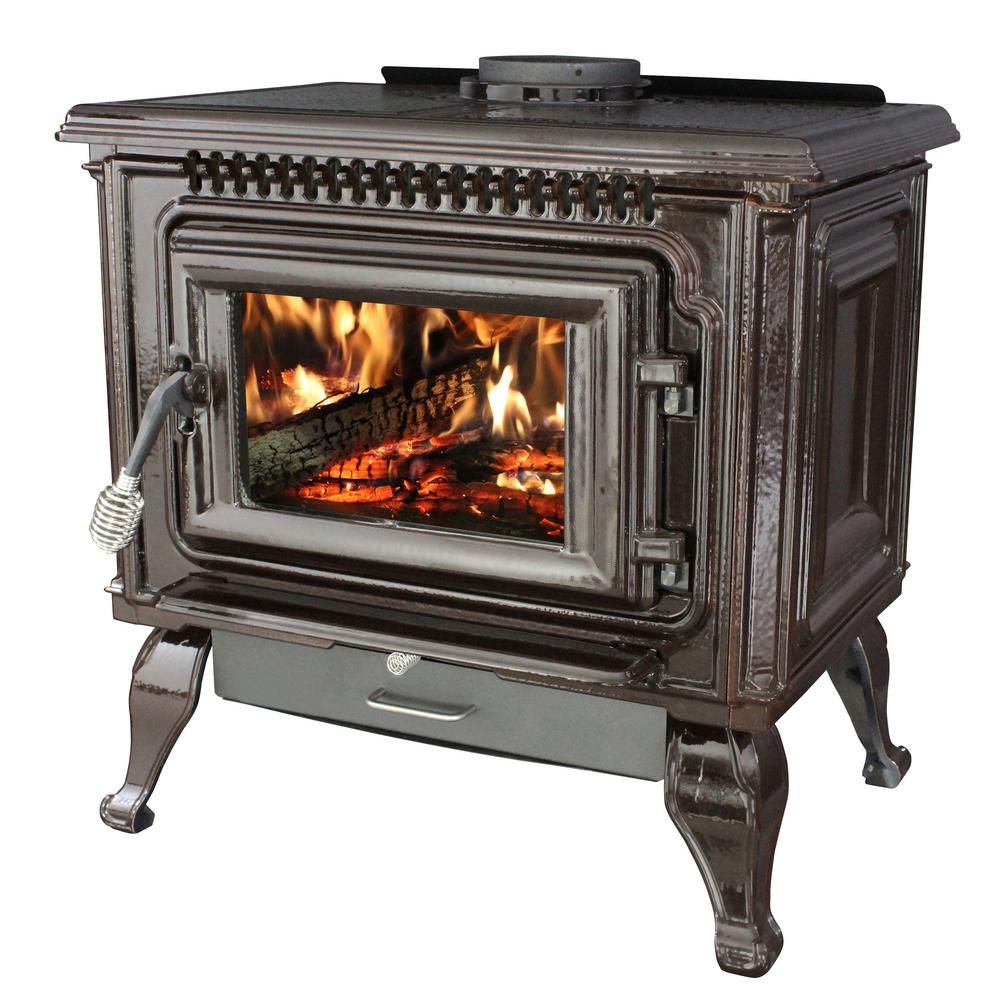 Ashley Hearth Products 2 000 Sq Ft Epa Certified Mahogany Enameled Porcelain Cast Iron Wood Stove With Blower Awc31m The Home Depot Wood Stove Cast Iron Fireplace Cast Iron Stove