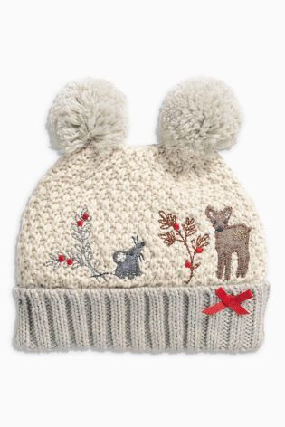 3e0857e14d9 Buy Cream Reindeer Double Pom Pom Hat (Younger Girls) from the Next UK  online shop