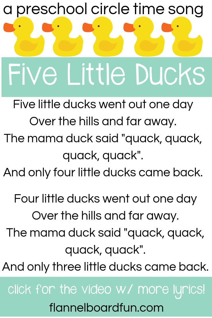 Five Little Ducks Preschool Circle Time Song Songs For Toddlers Preschool Circle Time Circle Time Songs