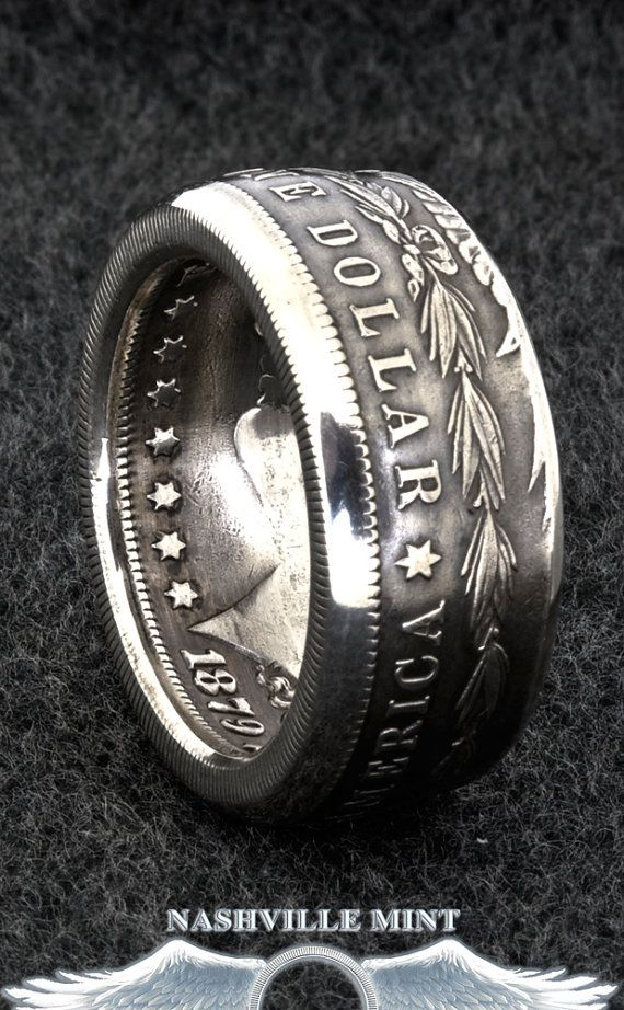 1886 Silver Morgan Dollar Double Sided Coin Ring Sizes 10 20 Half Unique Gift Mens