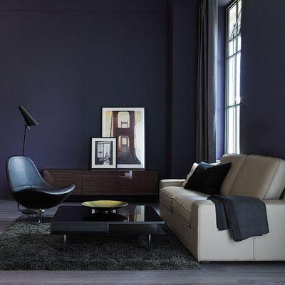 Un coin salon bleu nuit éclairé de beige. | Maison | Pinterest ...