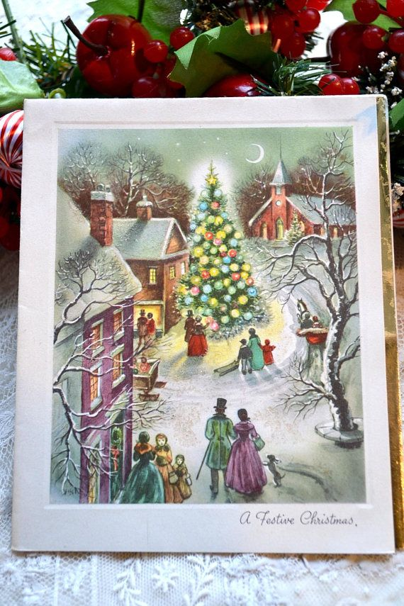 Vintage Christmas Card - Beautiful Christmas Glitter Town at Night