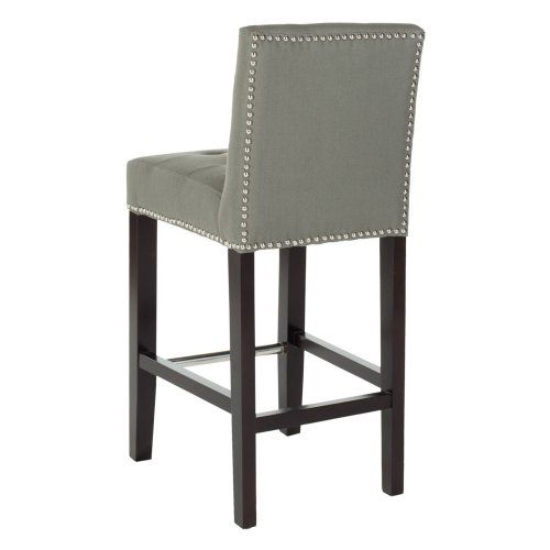 Safavieh Thomas Bisquit Tufted Nailhead Counter Stool Gray Linen Bar Stools At Hayneedle 240
