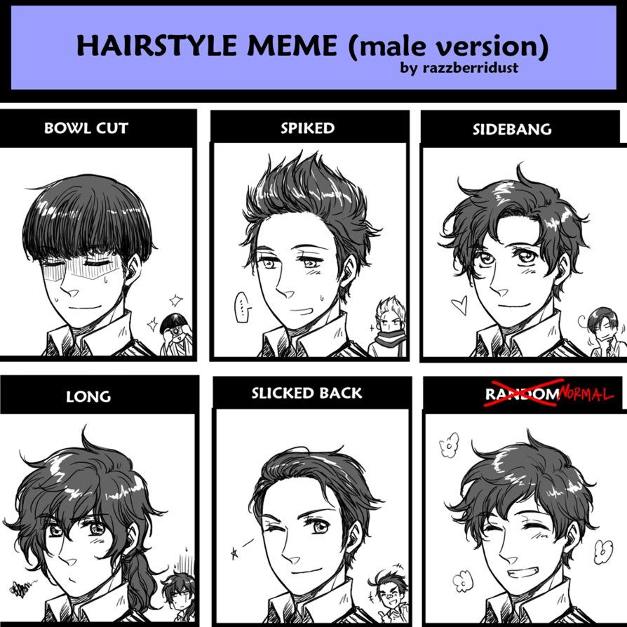 Hairstyle meme male version spainby hime1999