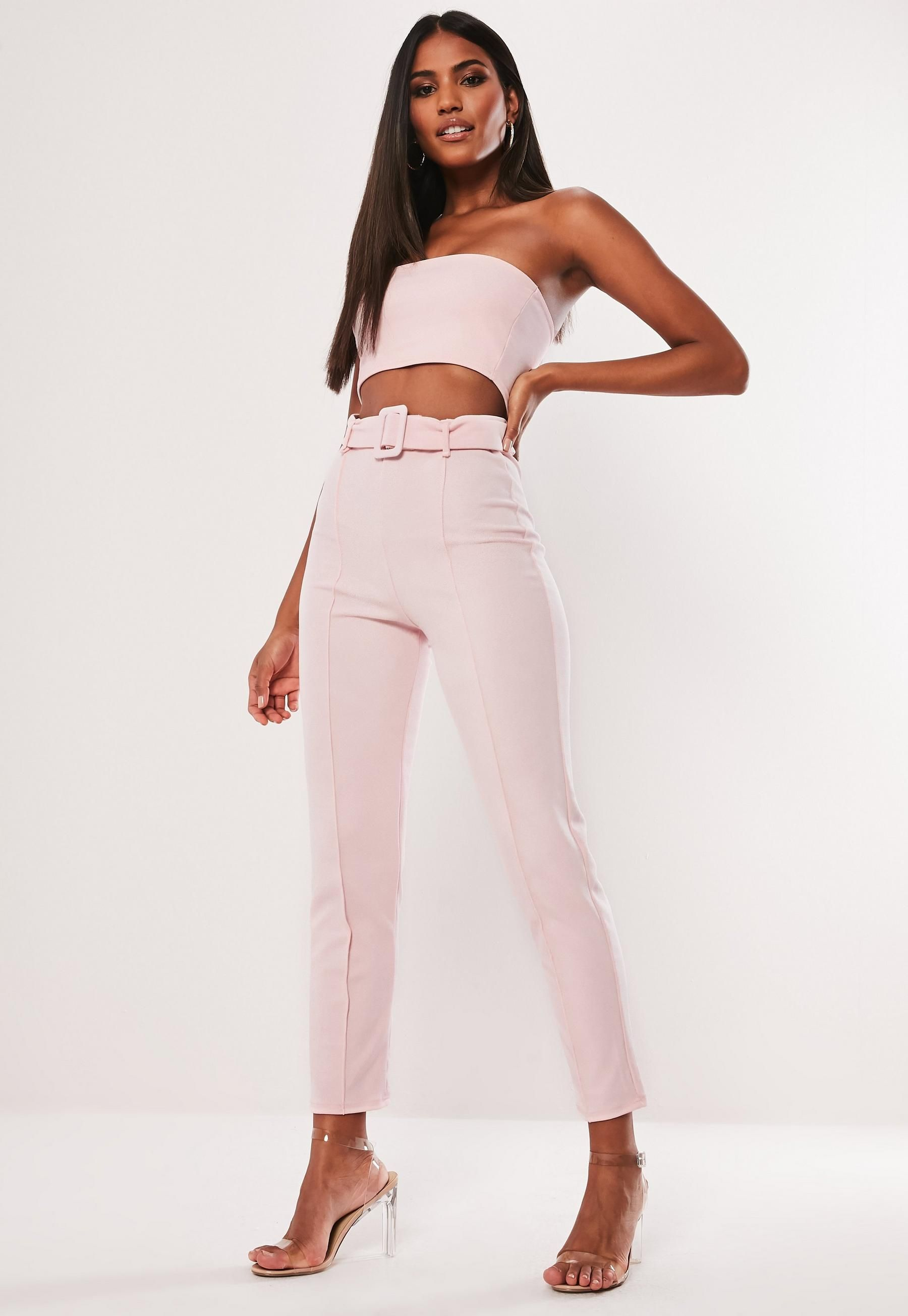 f2bbe7d1d4bb Missguided Pink Co Ord Belted Cigarette Pants in 2019 | Outfit Ideas ...