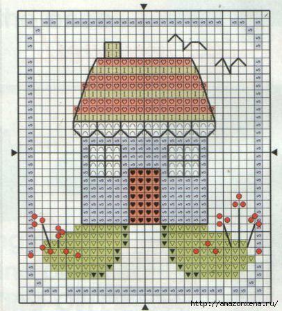Маленькая схема вышивка домика