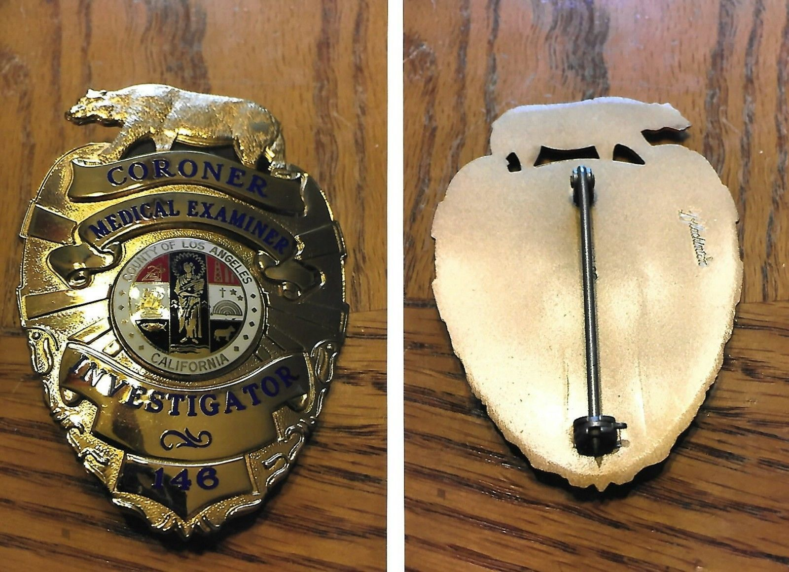 Investigator Coroner Medical Examiner Los Angeles County Police Badge Police Officer Badge Fire Badge