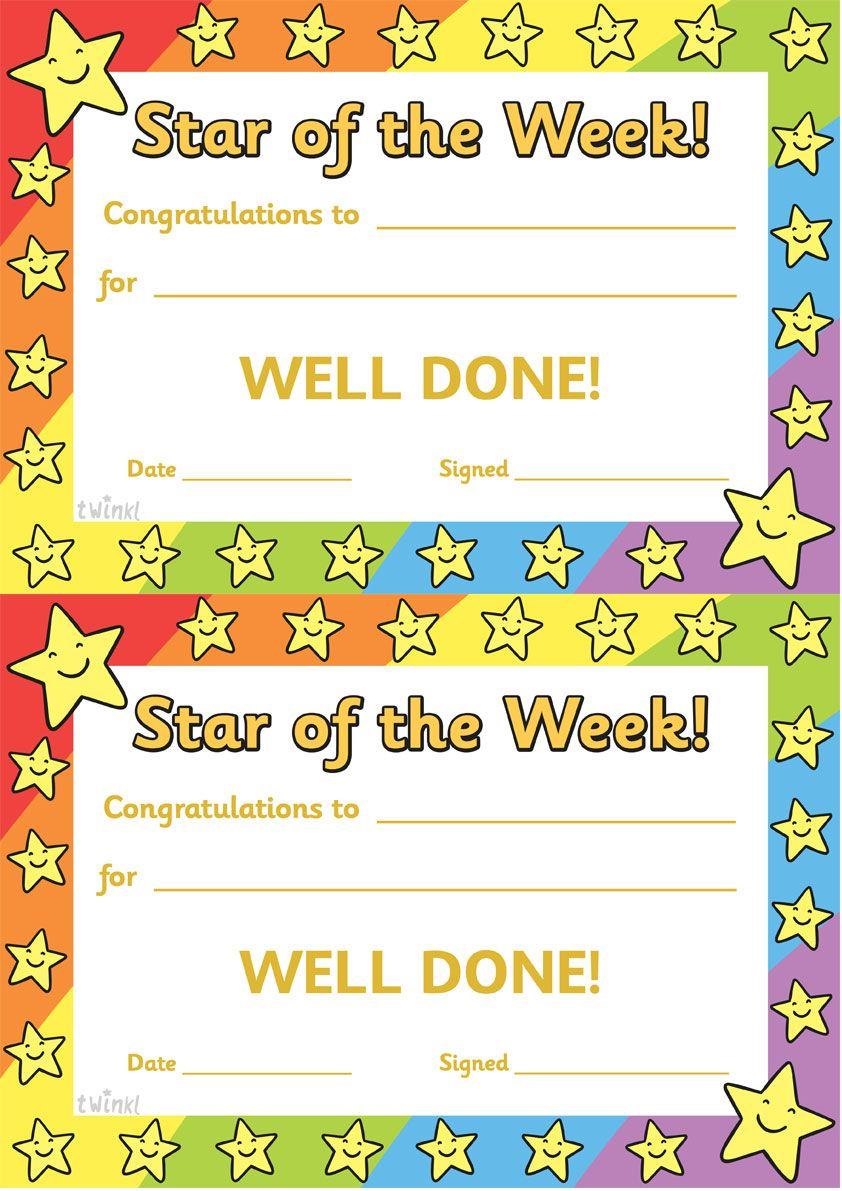 Twinkl Resources Star Of The Week Thousands Of Printable