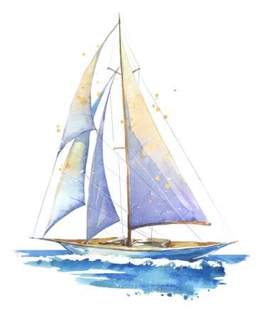 Sailing Boat Watercolor Painted Illustration Sailboat Drawing Watercolor Boat Sailboat Painting