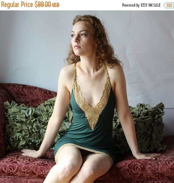 bamboo nightgown slip with lace trim - CATHEDRAL lingerie range - made to order