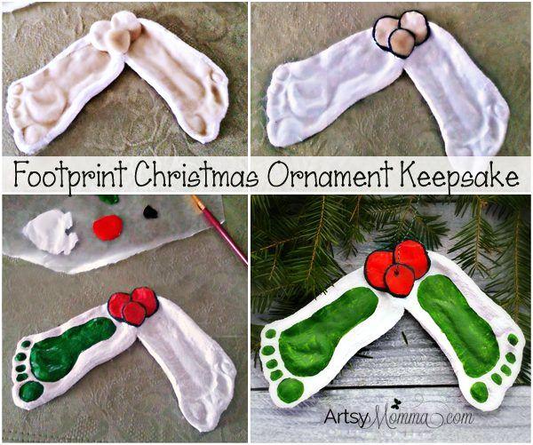 Darling Mistletoe Footprint Ornament made with Salt Dough #mistletoesfootprintcraft