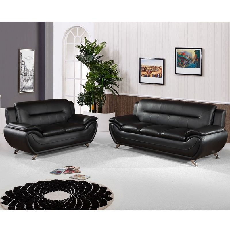 Empress Black Contemporary Sofa And Loveseat Weekends Only Furniture And Mattress Black Contemporary Sofa Couches Living Room Leather Sofa Couch