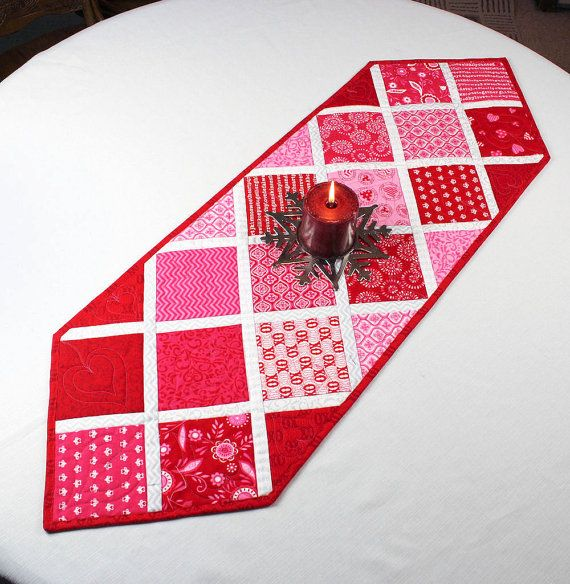 Quilted Fall Triangles Table Runner For Autumn Valentine