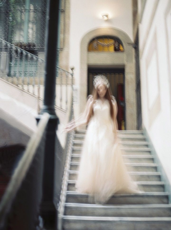 Soft Peach Wedding Dress for A Barcelona Fairytale Bridal Styled Shoot | fabmood.com #weddingdress #weddinggown #fairytalewedding #fairytale #peachwedding #weddinginspiration #filmwedding