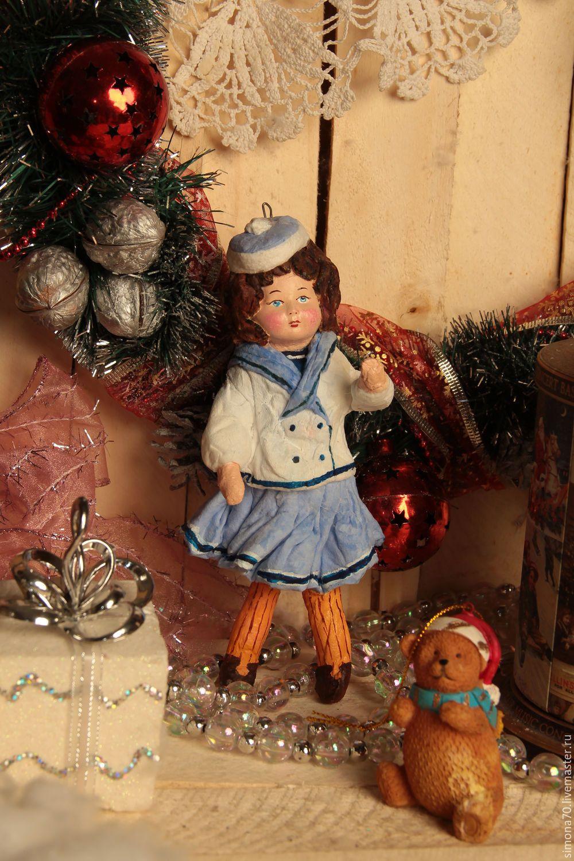 """Купить Ватная игрушка """" Девочка в матроске"""" - синий, ватная игрушка, девочка в матроске, зима"""