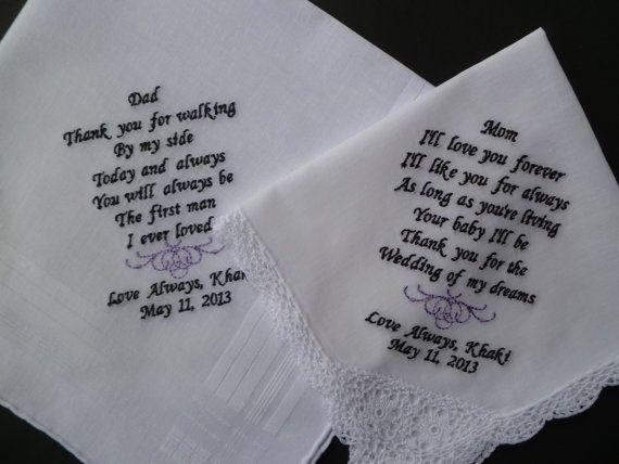 Custom Embroidered Wedding Handkerchief by LindasSewFashionable, $50.00