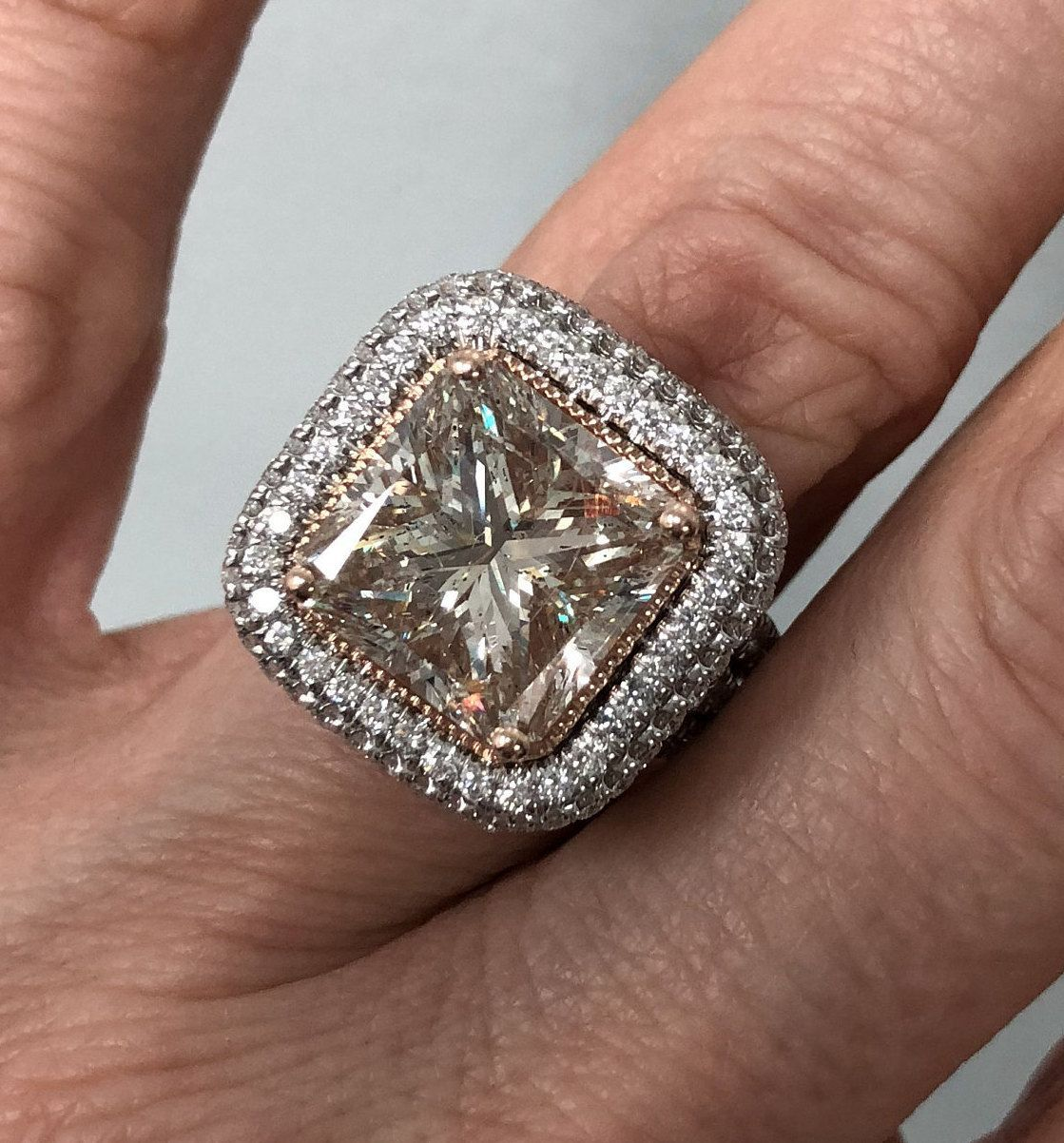 ct light pink diamond engagement ring radiant cut diamond