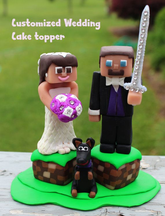 Customized Minecraft Wedding Cake Topper By Artsyvartsy On Etsy
