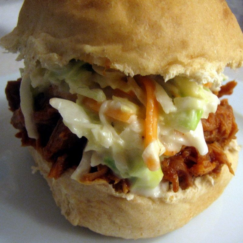 Crock Pot Pulled Pork And Coleslaw Sandwiches