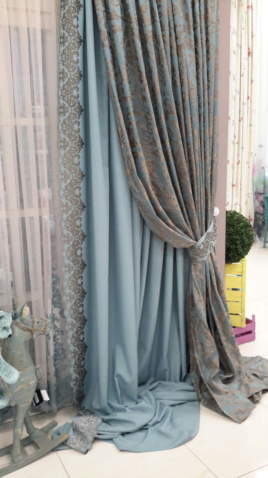 Pretty Leading Edge Triple Layered Window Treatment Sheers Accent Panel And Final Damask Pattern Heavy Over Pulled Back