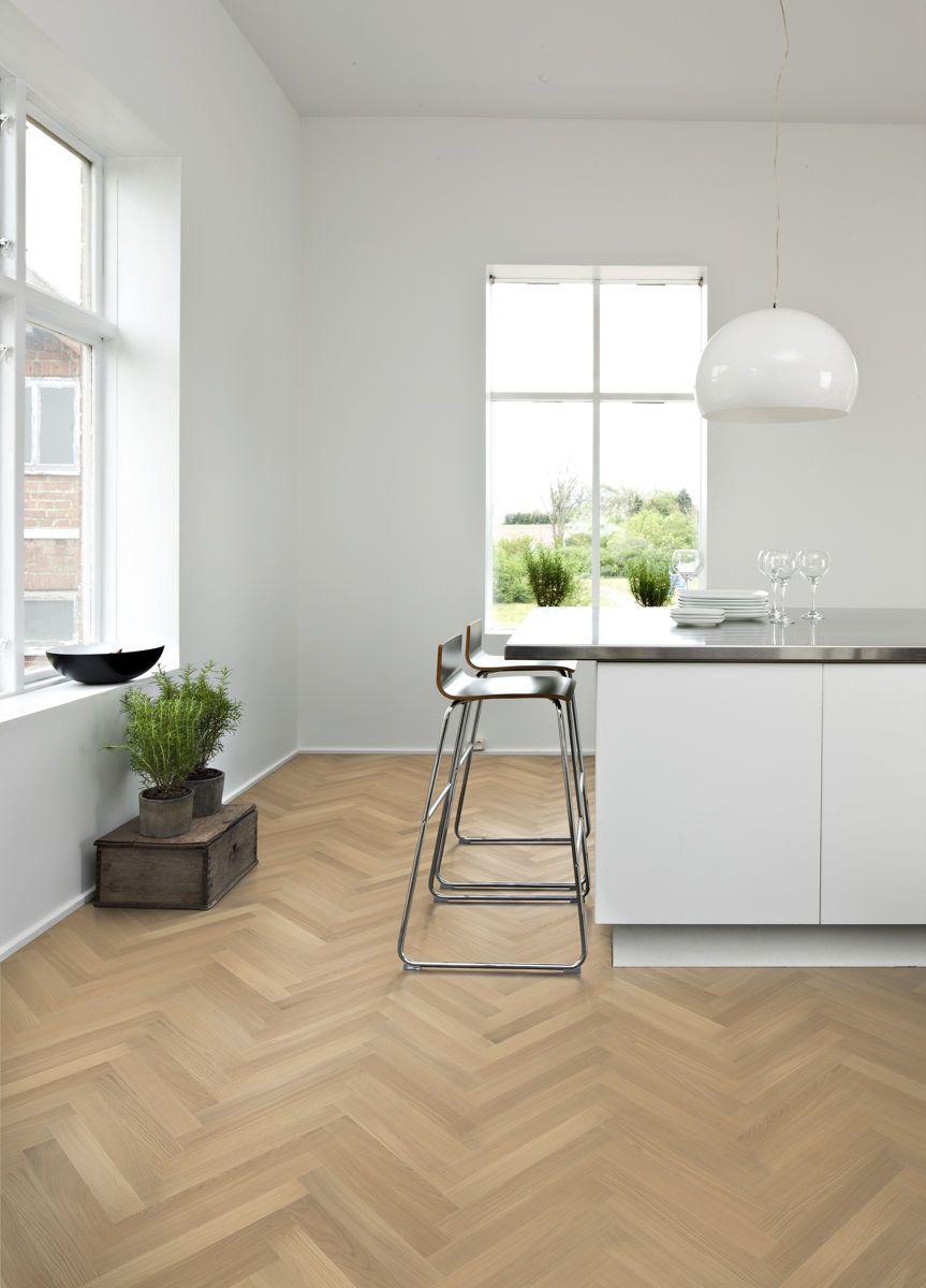 Kahrs Oak Herringbone Ab White Engineered Wood Flooring Uses A