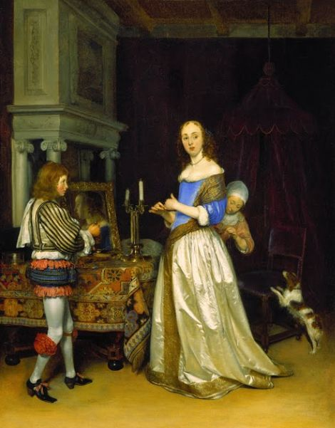 Gerard ter Borch, A Lady at Her Toilet (1660) on ArtStack #gerard-ter-borch #art