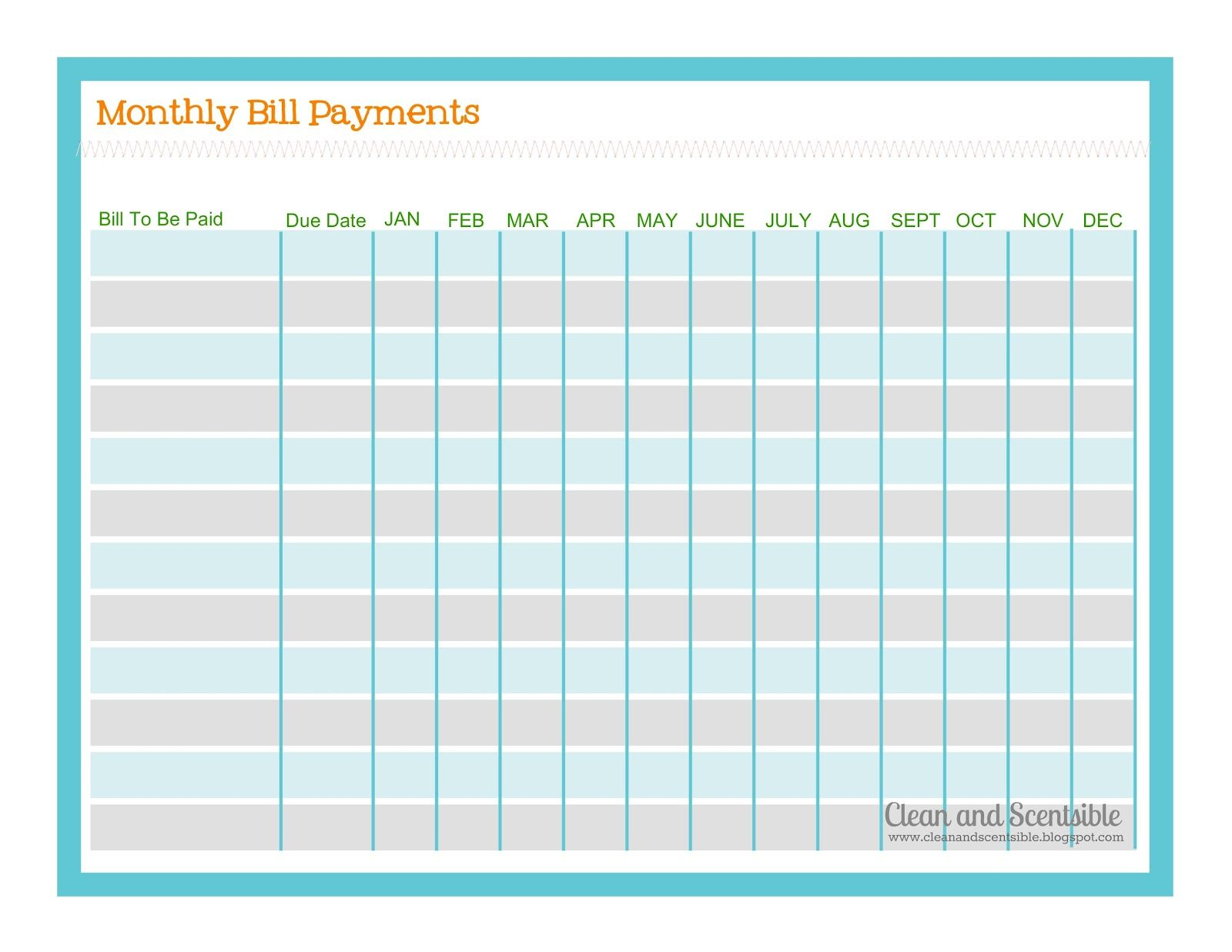 monthly payment template