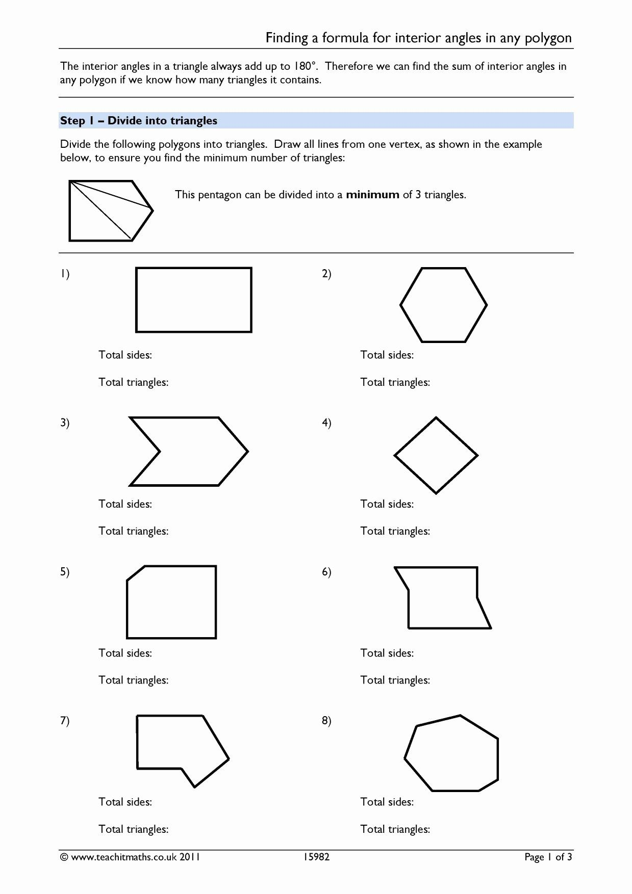 Polygon And Angles Worksheet Elegant Worksheet Interior