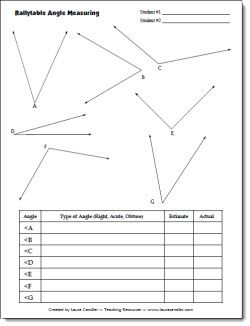 Partner Angle Measuring Activity - CCSS Aligned:4.MD.C.6 Measure angles in whole-number degrees using a protractor. Sketch angles of specified meas…