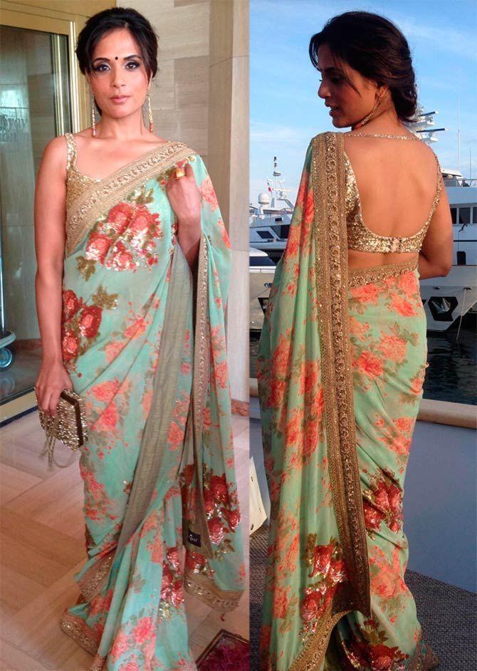 53dd58854629b0 Richa Chadda in Floral Print Saree | Designer Sarees | Sabyasachi ...