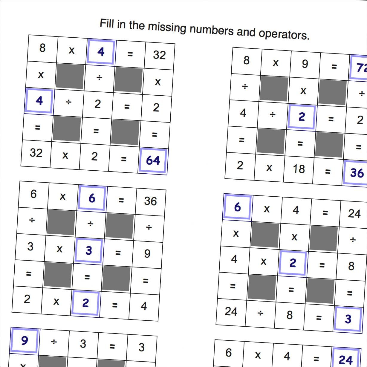 Math Worksheets: Multiplication and Division Grid Puzzle Worksheets ...