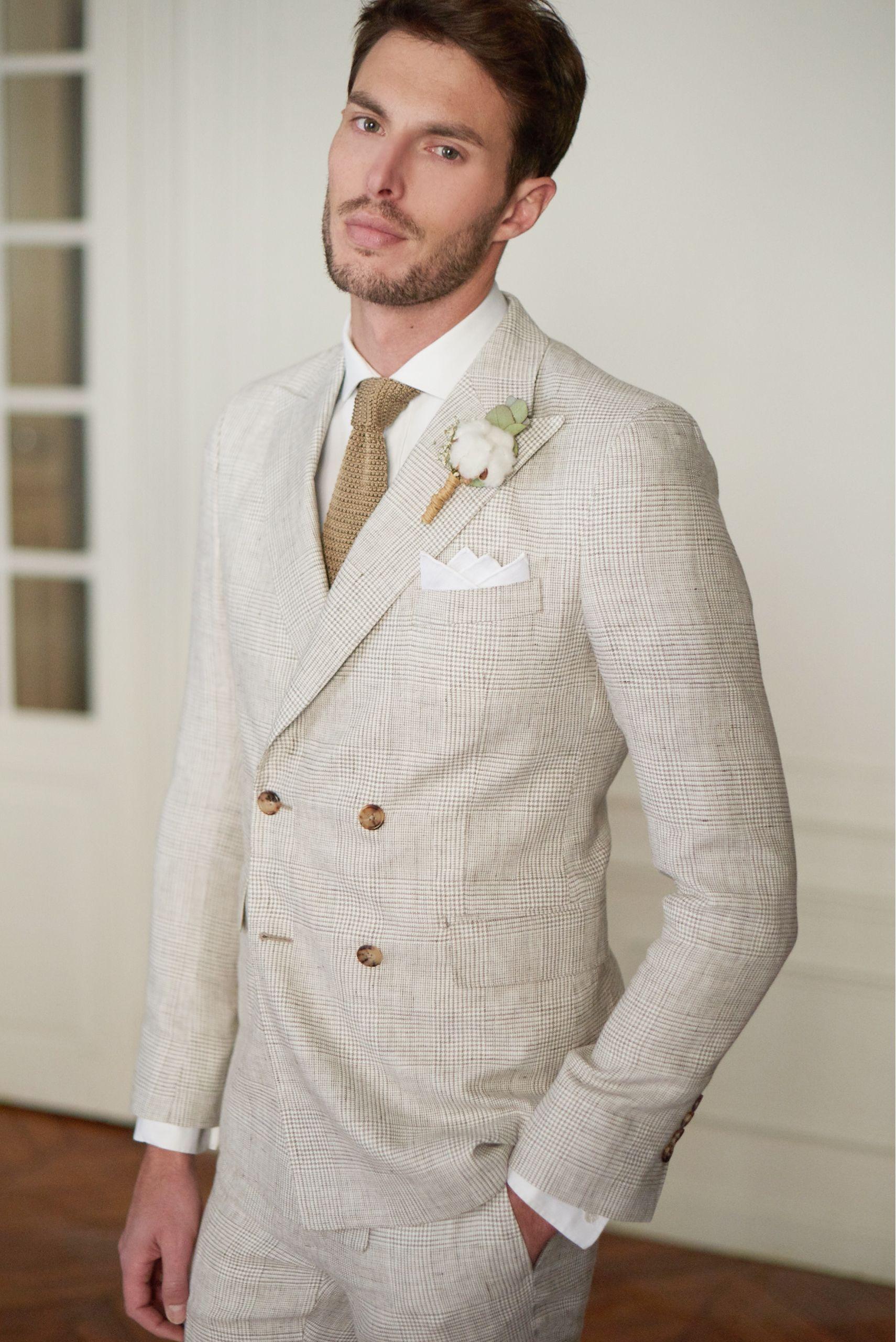 costume en lin crois motif prince de galles beige clair pochette en lin blanche et cravate. Black Bedroom Furniture Sets. Home Design Ideas