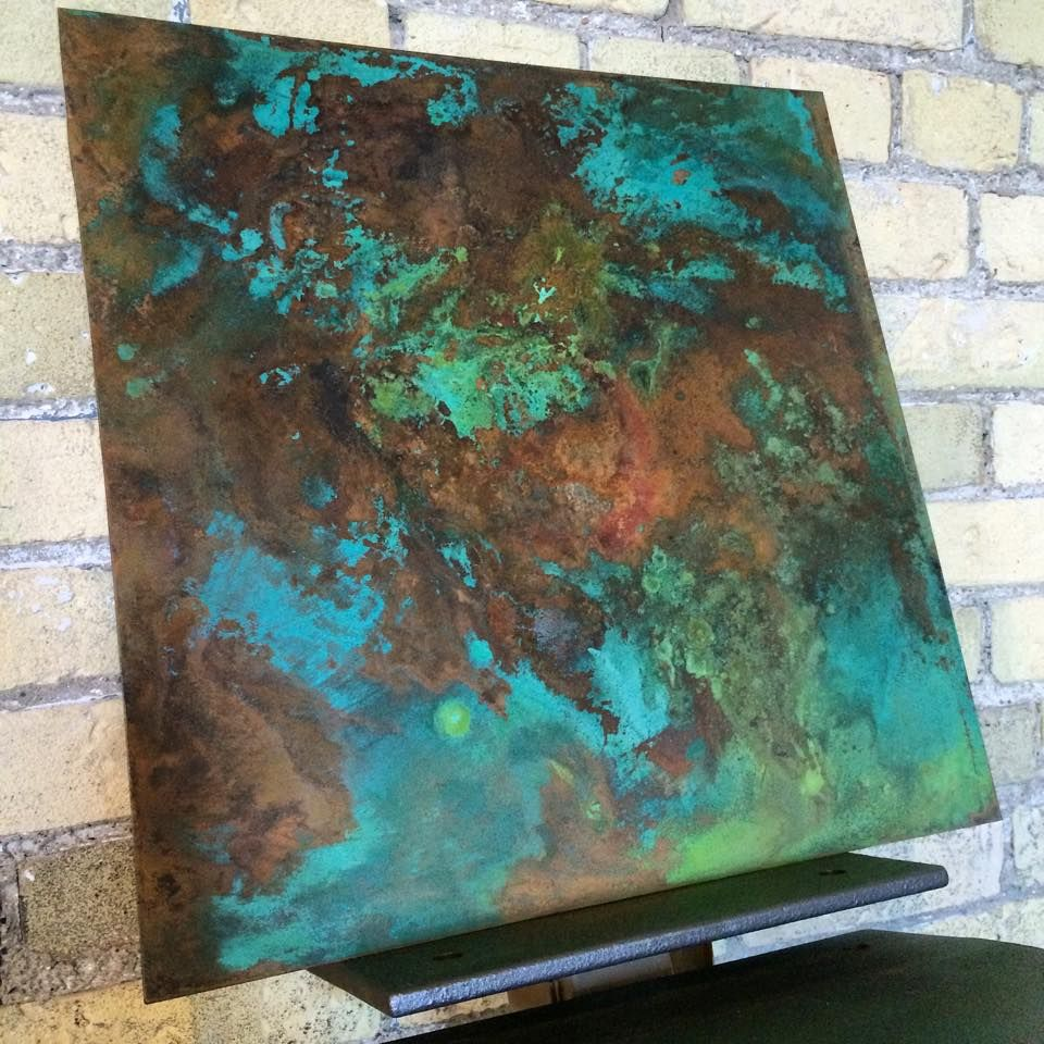 - Copper Patina Kitchen Backsplash Sample For Our Second Full Scale