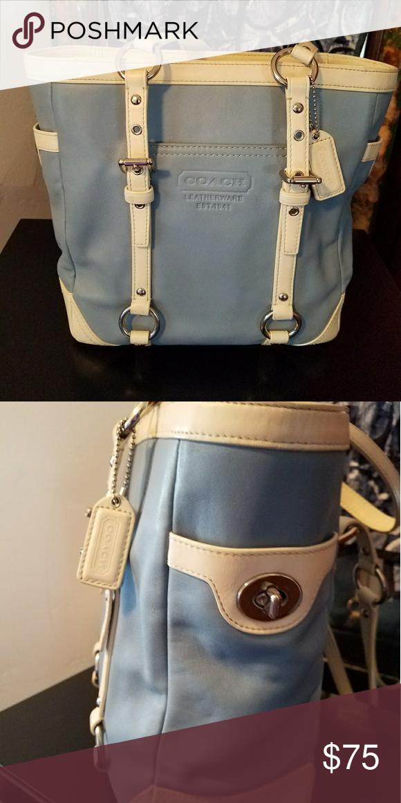 7f5829c0316 Rare Coach handbag Blue and white leather Coach nautical handbag. Coach Bags  Shoulder Bags