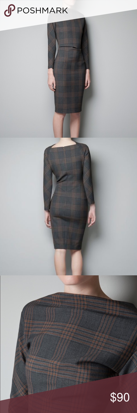 Nwt zara fitted checkered dress nwt my posh picks by malo