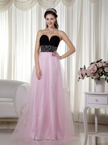 Pink and Black Floor-length Glitz Pageant Dresses with Beading in ...