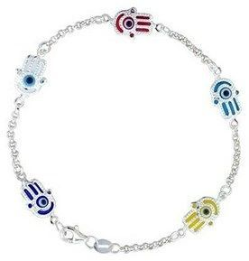 Bling Jewelry Turkish Evil Eye Sterling Silver Hamsa Bracelet Bluefly Com