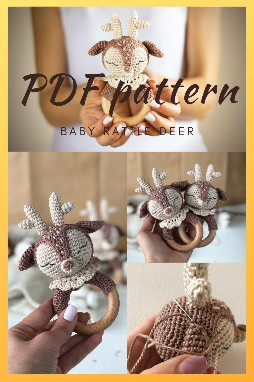 PDF Crochet baby rattle Deer, Amigurumi teether toy Pattern, Easy Photo File DIY Tutorial, Patterns