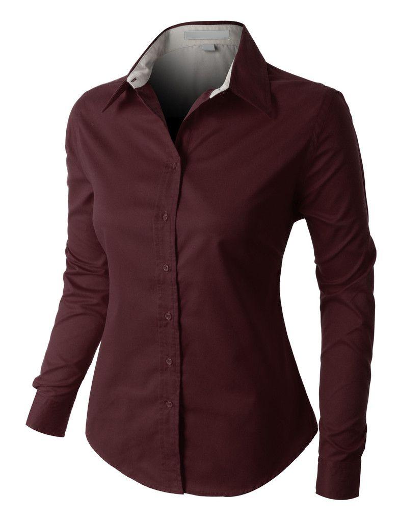 Premium Easy Care Long Sleeve Button Down Work Shirt Clearance Womens Long Sleeve Shirts Work Shirts Collar Shirts Women [ 1024 x 785 Pixel ]