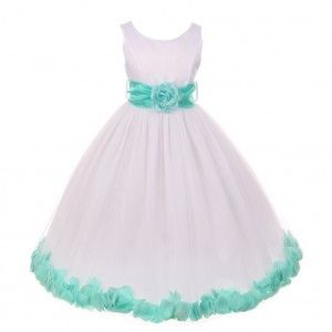 d5c7edd3a93 Little Girls White Mint Floral Petals Organza Sash Flower Girl Dress ...