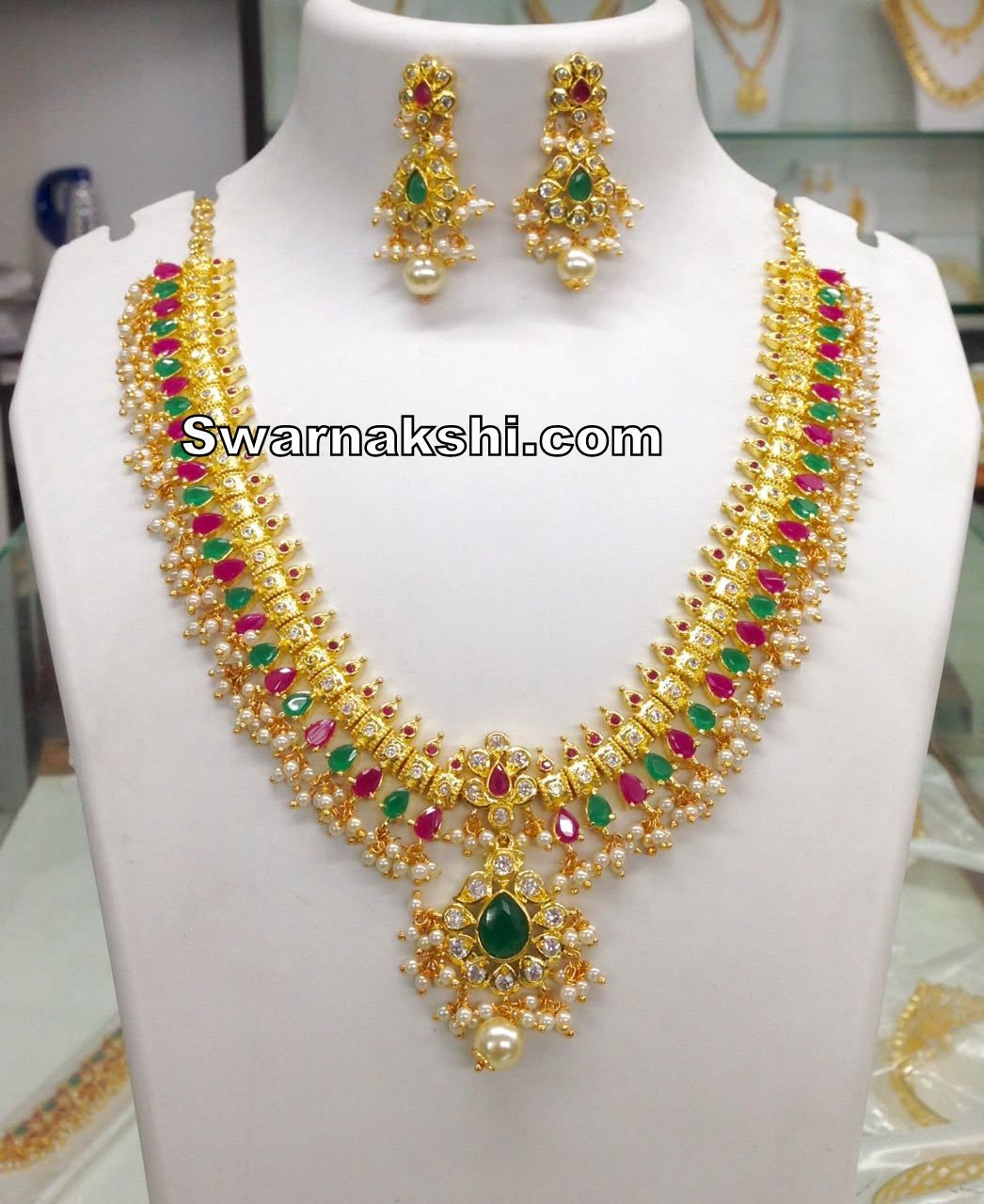 a0f467eee2 1 gram gold ruby emerald stone necklace collection #1gramgoldjewellery  #1gramgoldnecklace #necklace #imitationjewellery