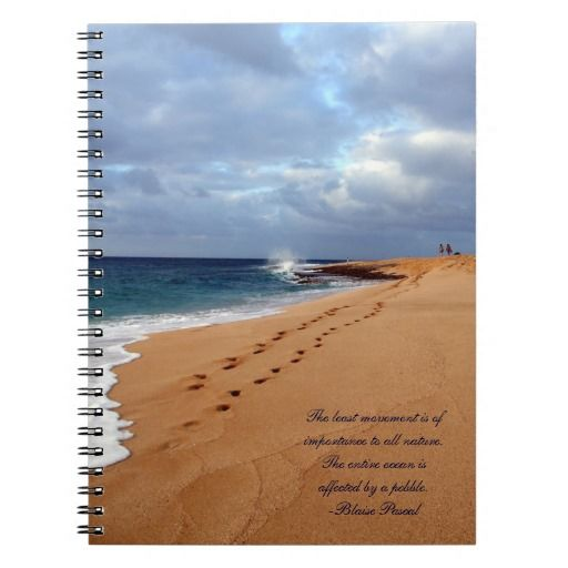Beach notebook with Pascal quote