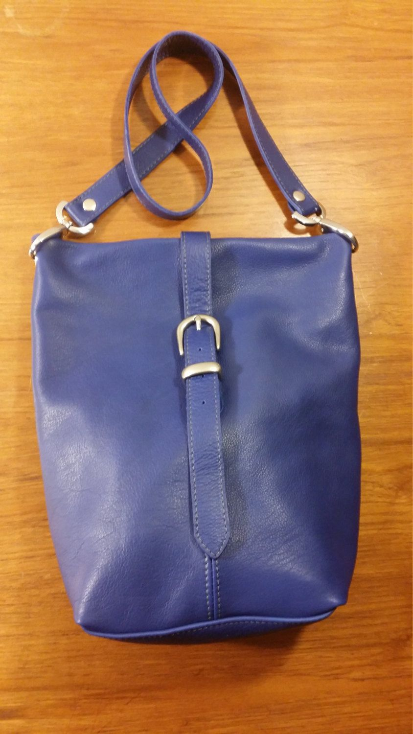 Cobalt Blue Leather Soft Luxury Minelli Crossbody Bag Shoulder Messenger with Buckled Strap Closure Handmade in USA by jewelrypieces on Etsy