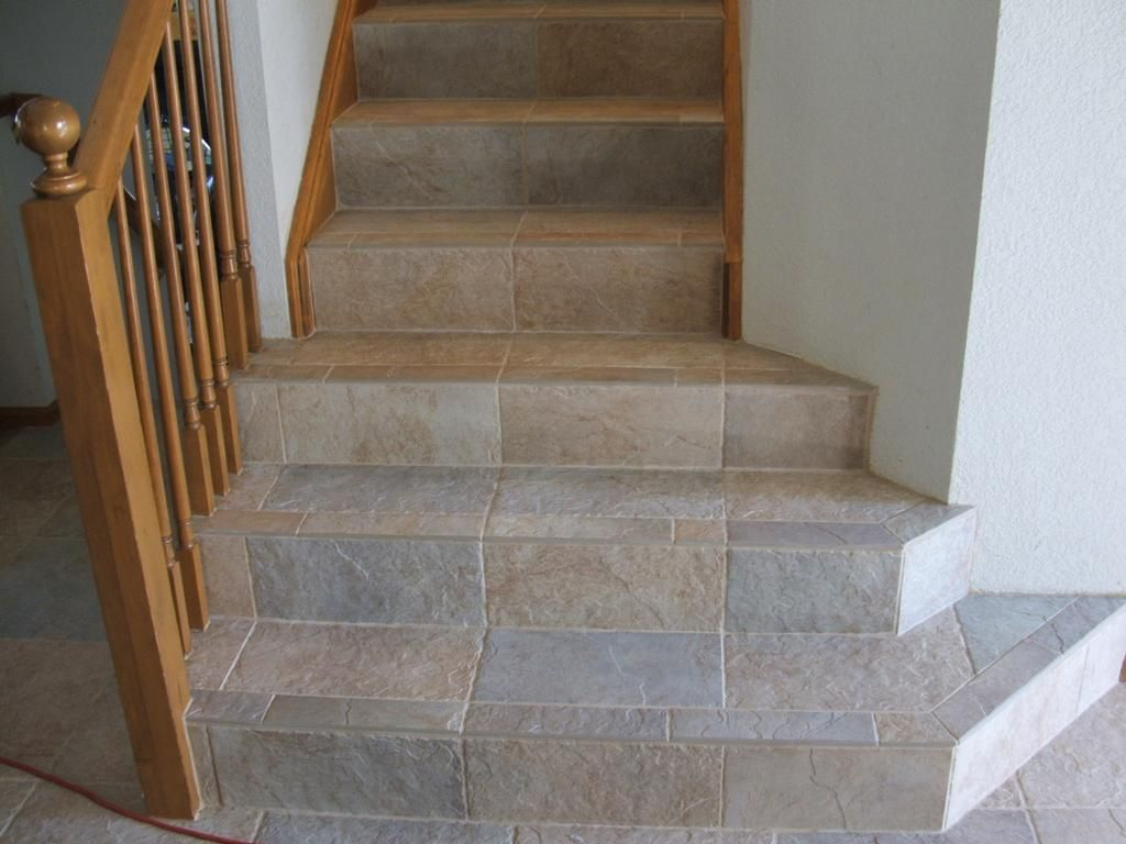 Charming Tiled Stairs Rustic Wood Railing At Http://awoodrailing.com
