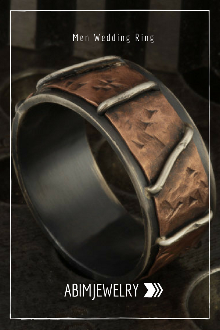 Men S Hammered Copper Ring Man Wedding Band Rustic Bark Silver