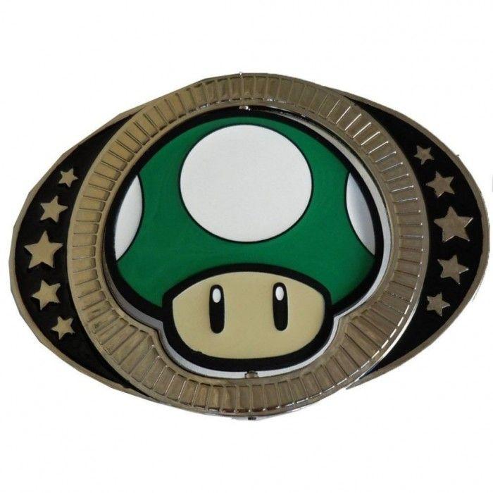 Nintendo Red & Green Reversible 1Up Mushroom Belt Buckle