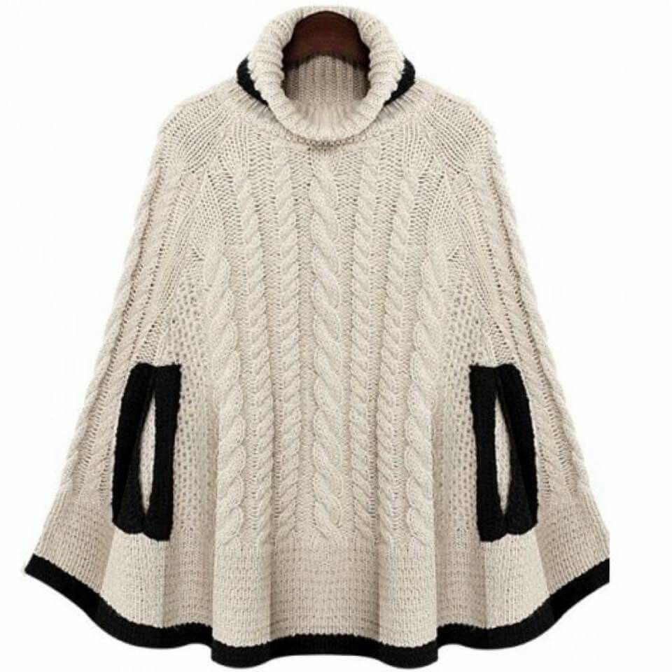 Knit poncho | Winter outfits | Pinterest | Ponchos, Crochet and Shawl